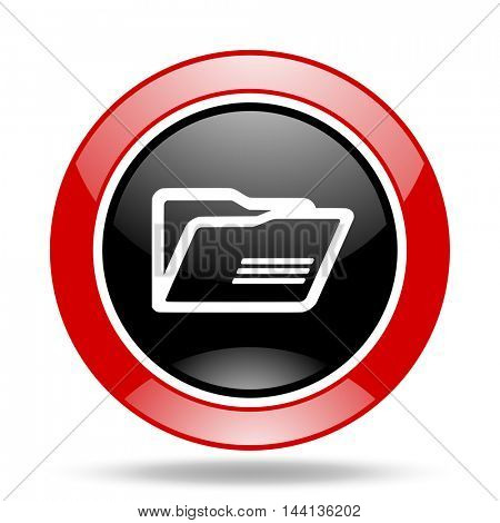 folder round glossy red and black web icon