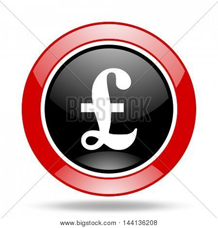 pound round glossy red and black web icon