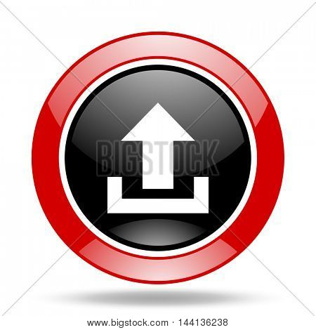 upload round glossy red and black web icon