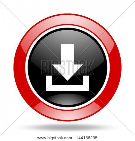 download round glossy red and black web icon