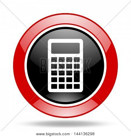 calculator round glossy red and black web icon