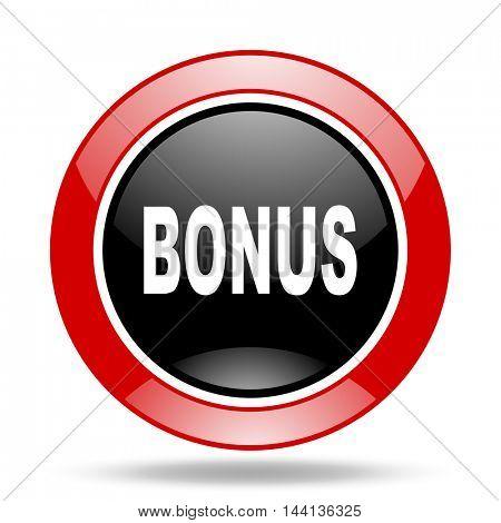 bonus round glossy red and black web icon