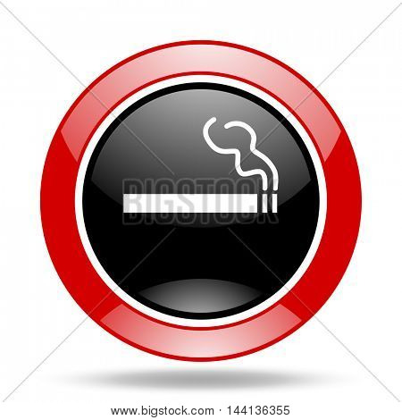 cigarette round glossy red and black web icon