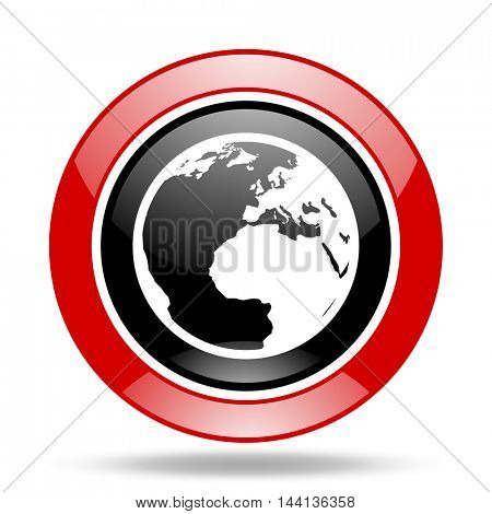 earth round glossy red and black web icon
