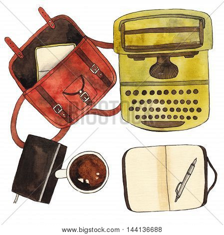 Coffee cup, notebook, pen, typewriter and bag. Watercolor mockup, template for design on white background