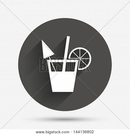 Cocktail sign. Alcoholic drink symbol. Circle flat button with shadow. Vector