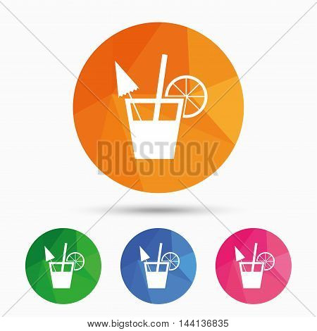 Cocktail sign. Alcoholic drink symbol. Triangular low poly button with flat icon. Vector