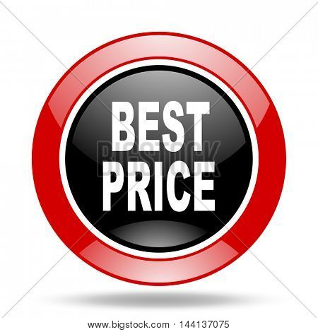 best price round glossy red and black web icon