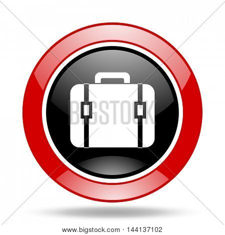 bag round glossy red and black web icon