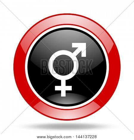 sex round glossy red and black web icon