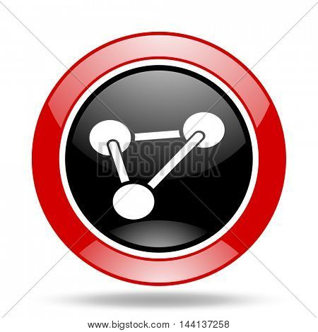 chemistry round glossy red and black web icon