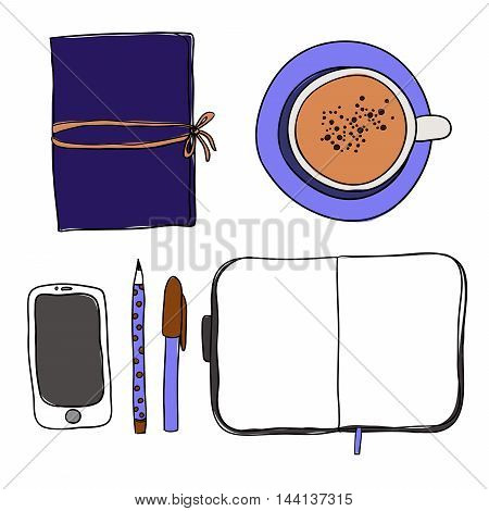 Coffee cup, notebook, pen, pencil and phone on white background. Mockup, template for design