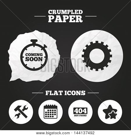 Crumpled paper speech bubble. Coming soon icon. Repair service tool and gear symbols. Hammer with wrench signs. 404 Not found. Paper button. Vector