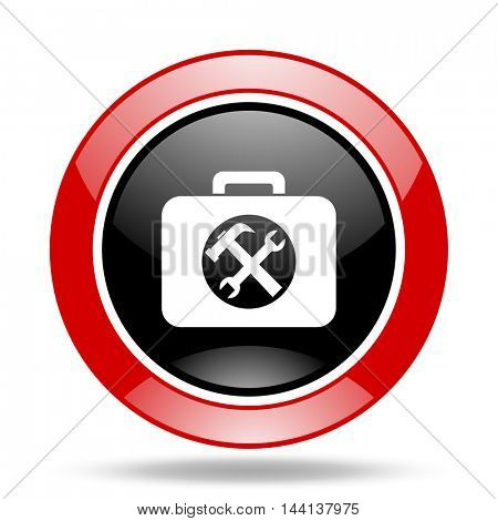 toolkit round glossy red and black web icon