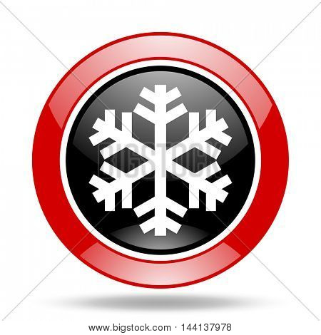 snow round glossy red and black web icon