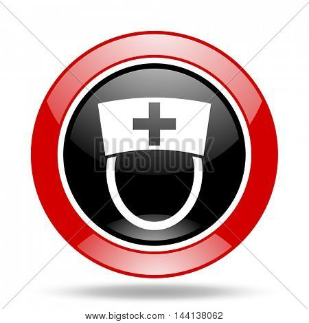nurse round glossy red and black web icon