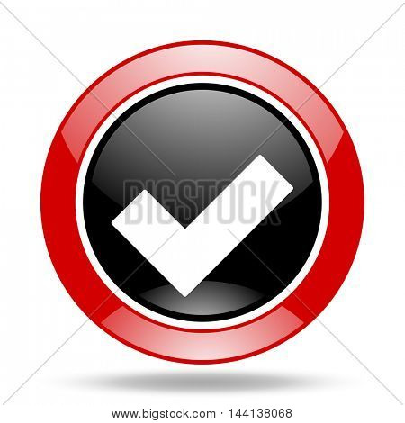 accept round glossy red and black web icon