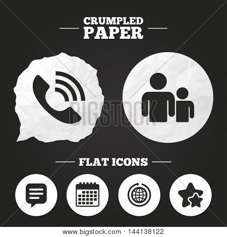 Crumpled paper speech bubble. Group of people and share icons. Speech bubble and round the world arrow symbols. Communication signs. Paper button. Vector