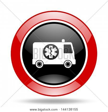 ambulance round glossy red and black web icon
