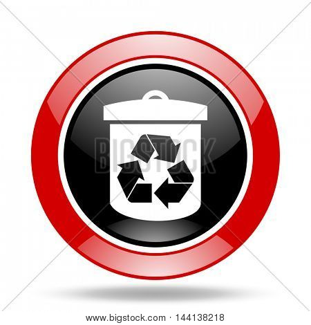 recycle round glossy red and black web icon