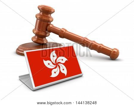 3D Illustration. 3d wooden mallet and Hong Kong flag. Image with clipping path