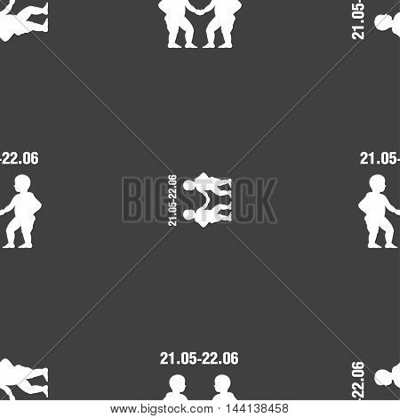 Gemini Sign. Seamless Pattern On A Gray Background. Vector