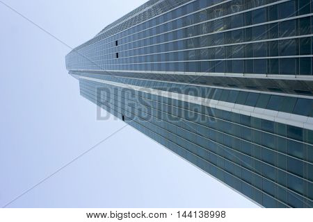 Moscow business center tower, Moscow-City. View from the ground,
