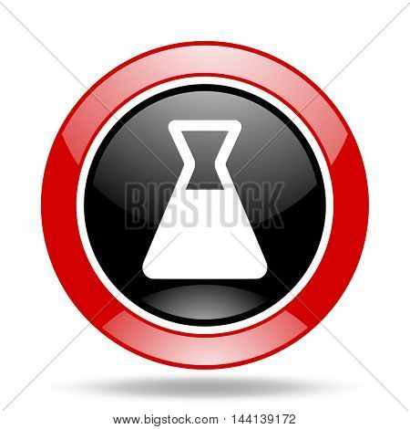 laboratory round glossy red and black web icon