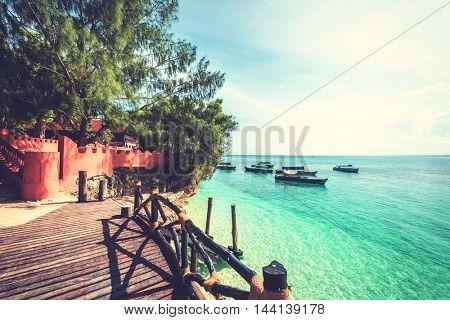 beautiful view of ocean on Turtles Island (Slaves), Zanzibar, Africa