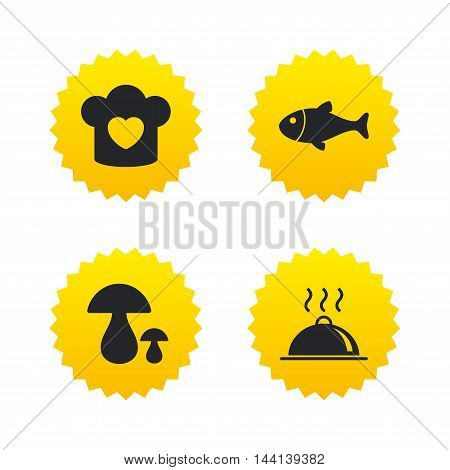 Chief hat with heart and cooking pan icons. Fish and boletus mushrooms signs. Hot food platter serving symbol. Yellow stars labels with flat icons. Vector