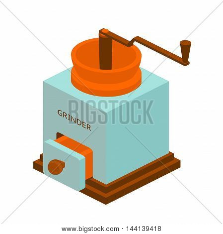 retro coffee grinder with long handle, vector illustration, isometric
