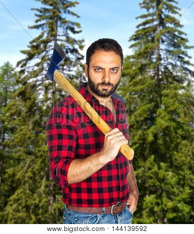 Lumberjack Among The Trees.