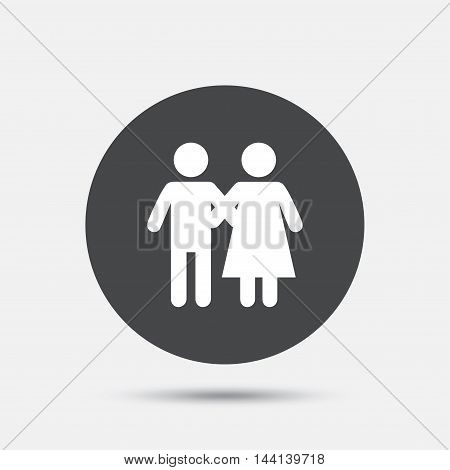 Couple icon. Young family symbol. Family insurance. Circle flat button with shadow. Vector