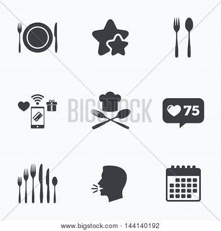 Plate dish with forks and knifes icons. Chief hat sign. Crosswise cutlery symbol. Dessert fork. Flat talking head, calendar icons. Stars, like counter icons. Vector