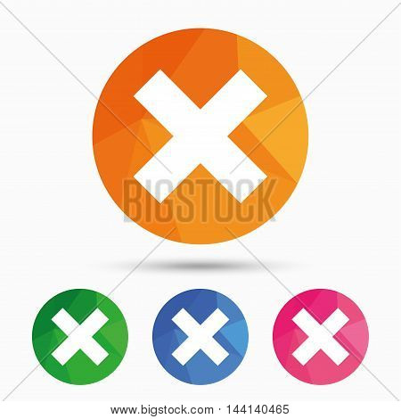 Delete sign icon. Remove button. Triangular low poly button with flat icon. Vector