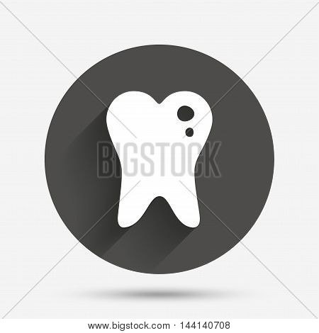Caries tooth icon. Tooth filling sign. Dental care symbol. Circle flat button with shadow. Vector