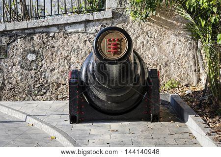 Gibraltar - March 17 2012: View of 30 tonne gun on street in Gibraltar.