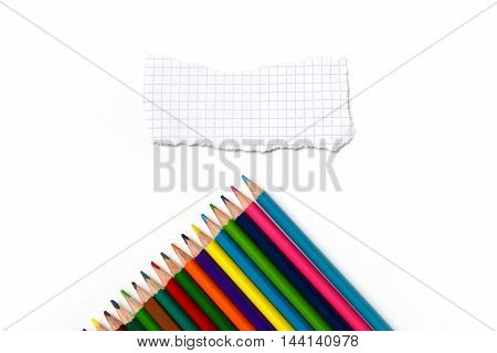 Isolated Colored Pencils In A Rainbow With Piece Of Paper