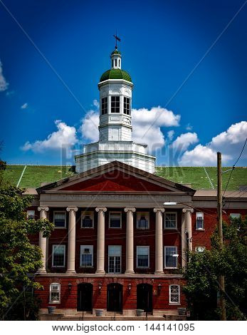 Howard University library. Outside building facade architecture