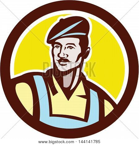 Illustration of a french artisan craft worker wearing beret viewed from front set inside circle on isolated background done in retro style.