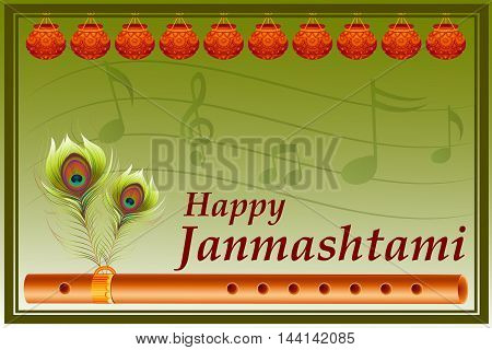 vector illustration of flute on Happy Krishna Janmashtami background