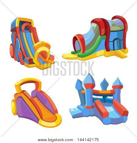 Vector illustration set of inflatable castles and children hills on playground. Pictures in modern flat style, isolate on white background