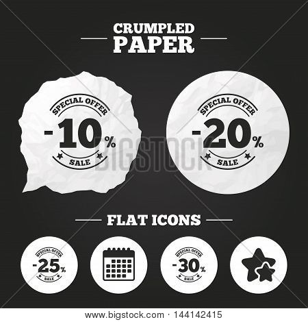 Crumpled paper speech bubble. Sale discount icons. Special offer stamp price signs. 10, 20, 25 and 30 percent off reduction symbols. Paper button. Vector