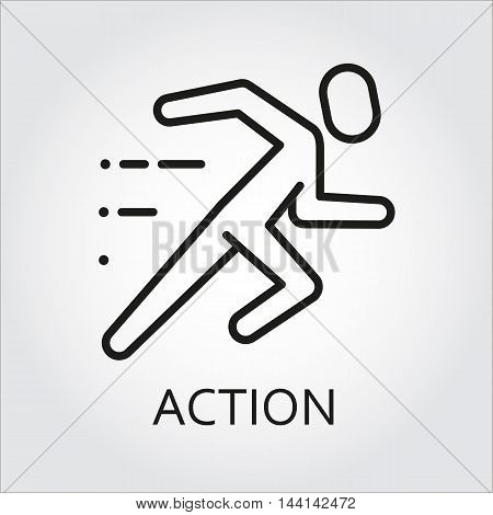 Black flat line vector icon with a picture of action as running man on white background.