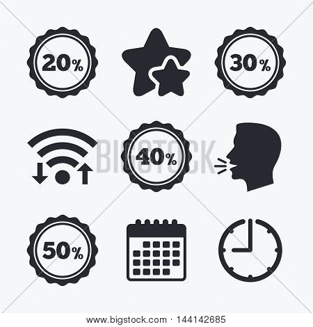 Sale discount icons. Special offer stamp price signs. 20, 30, 40 and 50 percent off reduction symbols. Wifi internet, favorite stars, calendar and clock. Talking head. Vector