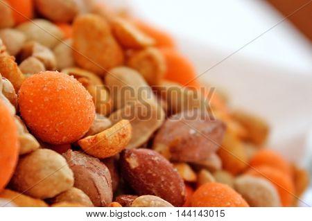 Mixed Peanuts - close up view of them