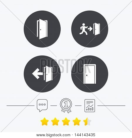 Doors icons. Emergency exit with human figure and arrow symbols. Fire exit signs. Chat, award medal and report linear icons. Star vote ranking. Vector