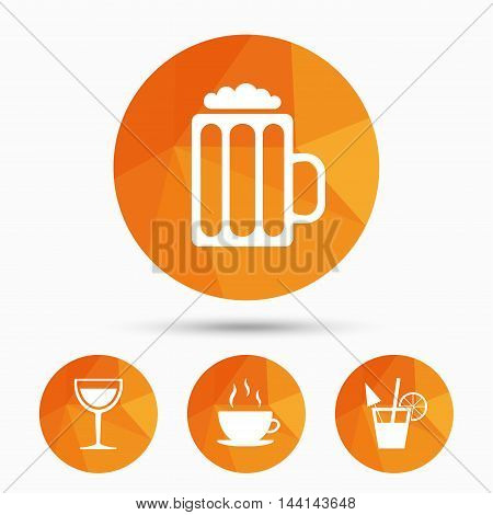 Drinks icons. Coffee cup and glass of beer symbols. Wine glass and cocktail signs. Triangular low poly buttons with shadow. Vector