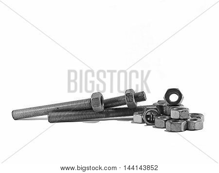 bolts and screw on white background .and is isolate