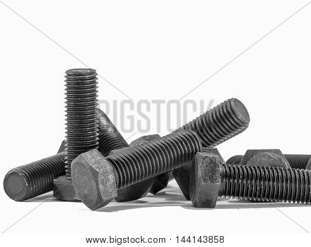 bolts and screw on white background.and is isolate
